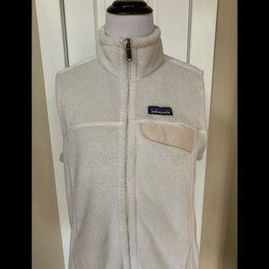Patagonia Re-tooled cream fleece women's vest-L